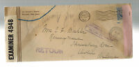 1941 USA to Dublin Ireland cover Dual Censored Returned to Sender