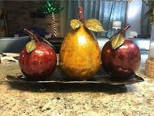 Metallic Fruit Centerpiece, Apples & Pear On Platter, Shiny Table Accent Decor