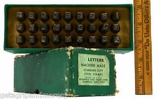"""Vintage 1/4"""" LETTERS SET of 27 Whole Alphabet GREENFIELD STEEL STAMP CO. in Box!"""