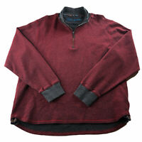 Robert Graham Pullover Sweater Jacket 2XL Red 1/4 Zip Fleece shirt casual