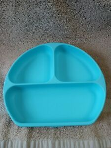 Bumkins Baby Toddler Secure Suction Silicone Grip 3 Bay Divided Plate Dish Blue