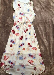 Lucky Brand Floral Cream Multi Color Sleeveless Hi-Low Dress Women's Size M