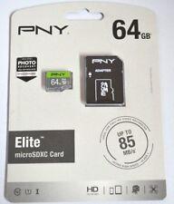 PNY Elite 64GB up to 85MB/Sec Microsdxc Card Micro SD Card P-SDU64U185EL-GE  NEW