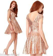 Goddiva Champagne Sequin Cap Sleeve Swing Skater Prom Formal Evening Party Dress