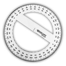 Westcott-Plastique Transparent Full Circle 360 Degré Rapporteur-Diamètre 15 cm