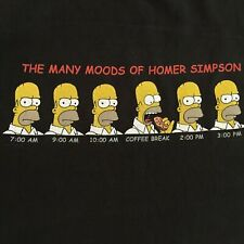 The Simpsons Many Moods of Homer Simpson T Shirt Sz XL Black Doh Donut Coffee
