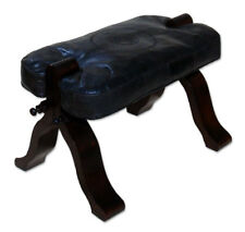Moroccan Kamelhocker Leather Stool Footrest Handmade Rabati Black
