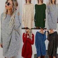 Womens Long Sleeve Tunic Sweatshirt Baggy Tops Ladies Pullover Mini Dress Jumper