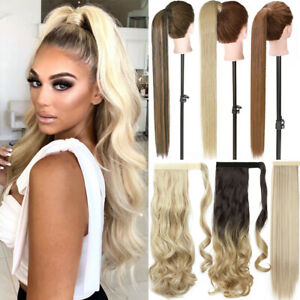 Long Thick Real Wrap Ponytail Clip In Hair Extensions Pony Tail As Human Blonde