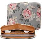 14+inch+Computer+Cover+Bag+Canvas+Zipper+Laptop+Case+Notebook+Sleeve+Gray+Flower