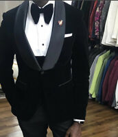 Formal Tuxedo 3 Piece Shawl Lapel Wedding Suits For Men Black Velvet Groom Wear