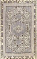 Geometric Gray Oushak Oriental Area Rug Vintage Style Handmade Wool Carpet 8x11