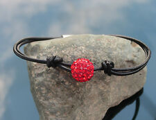 Girl Genuine Black Leather Cord Bracelet with 925 Sterling Silver Ends and Clasp