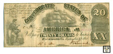 USA Confederate 1861  $20 Note; VF ;Tiny piece of backing mount reminant
