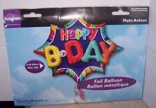 "Anagram Happy Birthday Foil/Mylar Balloon35""x29""  3D Effect Multi Balloon"