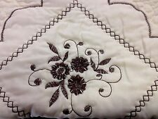 King 3pcs Embroidery Quilt Reversible Bedding Embroidered Flowers w/ Shams Brown
