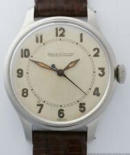 Mid Century Jaeger LeCoultre Steel Military Style Mens Beautiful Vintage Watch