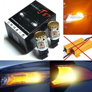Canbus Error Free LED Light 3156 Amber Two Bulbs Rear Turn Signal Replace Lamp