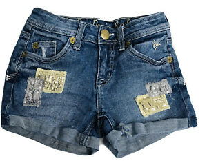 Justice Jeans Girls Sz 8R Jean Shorts Blue Denim Cuffed Sequin Patches Stretch