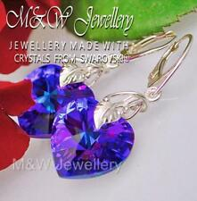 925 Sterling silver Earrings Crystals From Swarovski® HEART Heliotrope AB 18mm