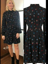 BNWT Warehouse Black Lucky Horseshoe Print Dress UK 8 Seen on Holly Willoughby
