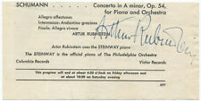 Arthur Rubinstein Signed Program Page