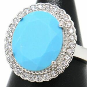 Large Natural Turquoise Halo Ring 925 Sterling Silver Women Wedding Jewelry Gift