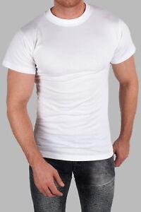 10er Pack Premium T-Shirt Basic Weiß Rundhals Shirt Freizeit Sport Sommer Slim