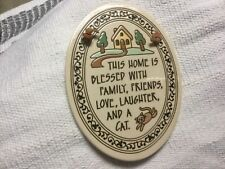 Trinity Pottery Wisconsin Oval Hanging Blessed Family Friends And A Cat Plaque
