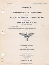 1941 AAC RYAN PT-20A (ST-A) PRIMARY TRAINER PILOTS FLIGHT MANUAL HANDBOOK-CD