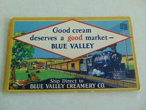 L1862 Postcard Blue Valley Creamery Co Cream Ink card blotter has a train on it