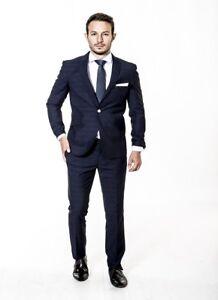 Slim Fit Suit Mens Navy Check Designer Wholesale Price Formal Wedding