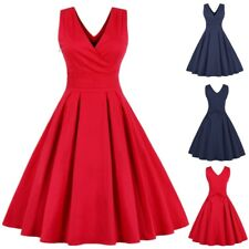 AU Plus Size Women 1950s Vintage Rockabilly Style Retro Evening Prom Swing Dress