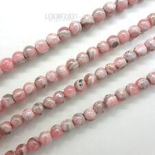 """SALE 15.7"""" Natural Pink Genuine Rhodochrosite (Off) Round Beads ap. 4mm #14360"""