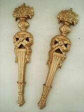 TWO ORNATE COLUMNS FURNITURE MOULDINGS ANTIQUE GOLD RESIN