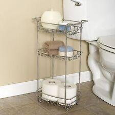 Zenna Home's Slimline Bathroom Floor Stand, Bath Storage, 3 Shelves, Chrome