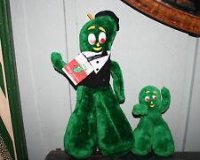 """TWO Vintage 1988 ACE Plush Stuffed Gumby Toys - Tuxedo w/ Tag 14"""" &  Mini 7"""""""