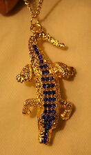 Striking Sculpted Goldtone Alligator Crocodile Blue Rhinestones Pendant Necklace