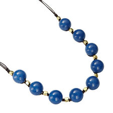 Fossil Brand FOLK Blue Jade Bead Leather Cord Long Necklace NEW