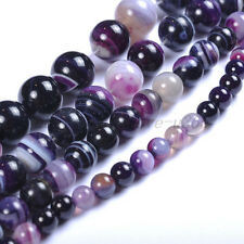 """15.5"""" Natural Color Stripe Agate Onyx Gems Round 4MM - 14MM Spacer Loose Beads"""