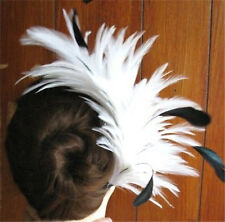 white black feather fascinator comb hair clip headpiece wedding party piece