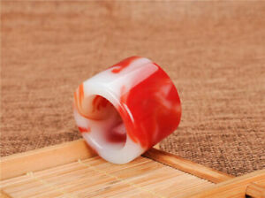 China Hand carving Natural red and white jade Thumb ring