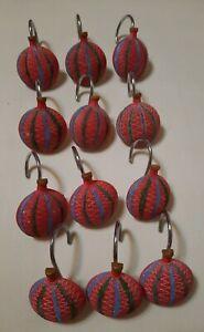Christmas Globe Ornament Bathroom Shower Curtain Ceramic Hook Hangers Set of 12