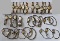 28-LOT Vintage LADIES Wrist Watches Parts Repair Swiss Manual Wind White Cases