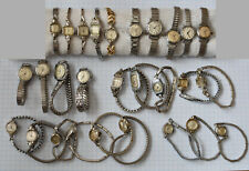 28-LOT Vintage LADIES Wrist Watches Parts Repair Swiss Manual Wind White Cases