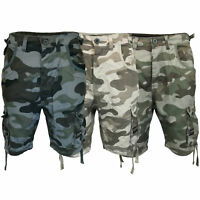 Mens Crosshatch Camouflage Shorts Cargo Combat BELT Knee Length Jeans Military