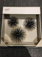 Sea Urchins Wall Decor Set of 3 Brand New Starburst Metal Home Decoration Gold