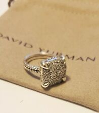 David Yurman Sterling Silver Chatelaine 14mm Pave Diamond Ring Size 7