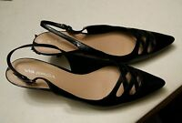 032 Womans Via Spiga Heels Size 9 M Shoes Used Black Strap Sexy Slingback