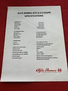 Alfa Romeo GTV 6/2.5 Coupe Specifications Sheet Original